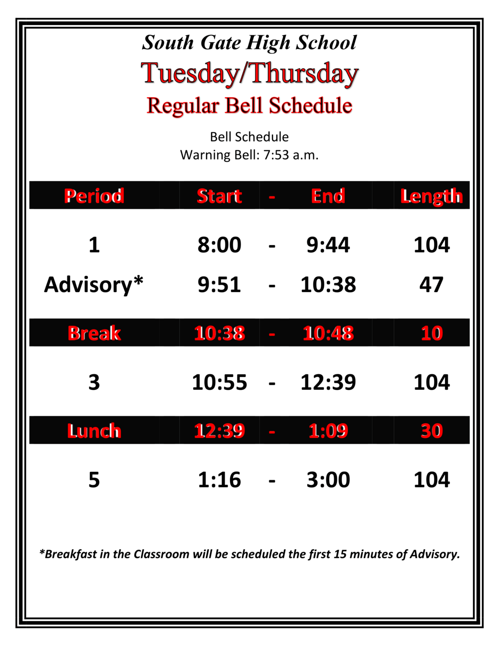 Tuesday Thursday Bell Schedule