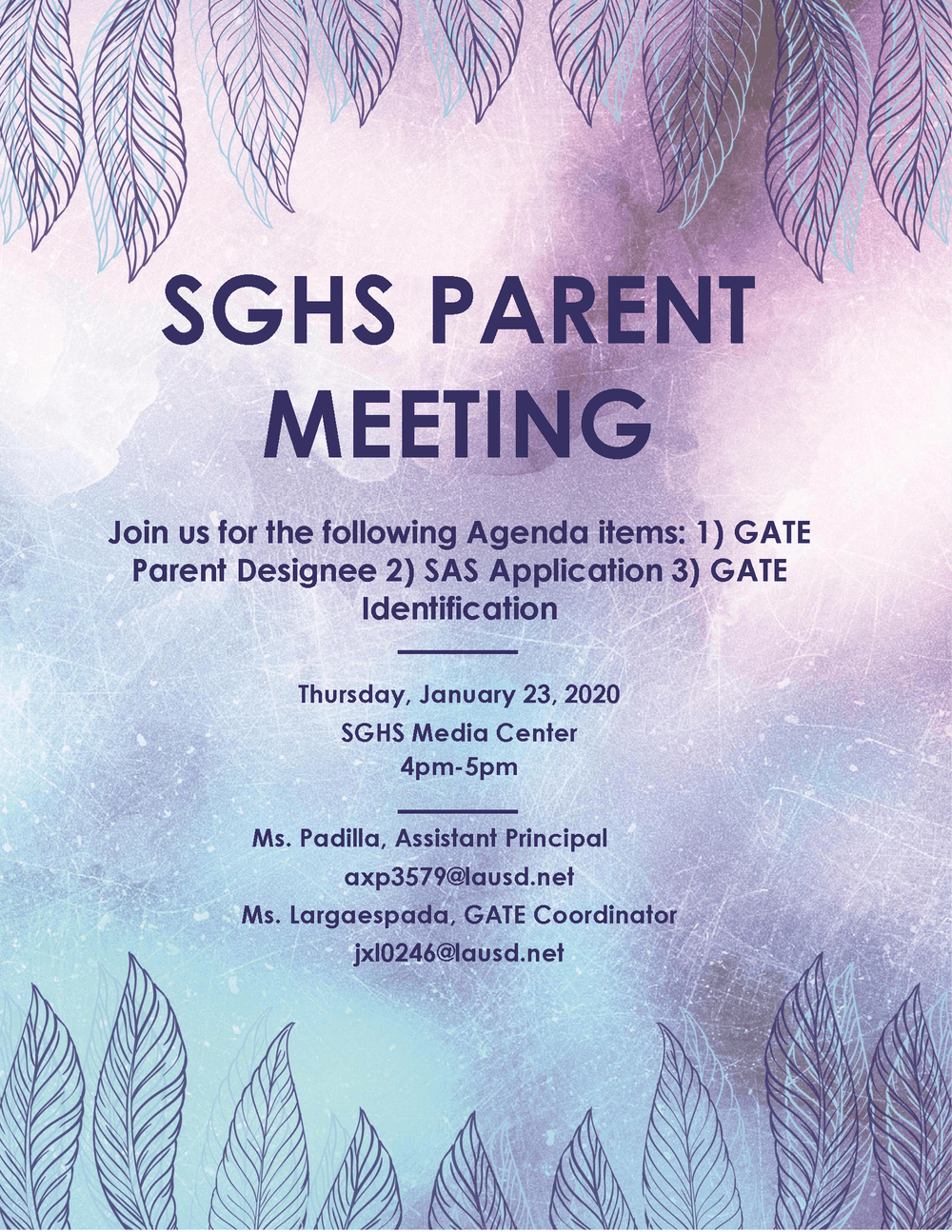 SGHS PARENT MEETING Flyer