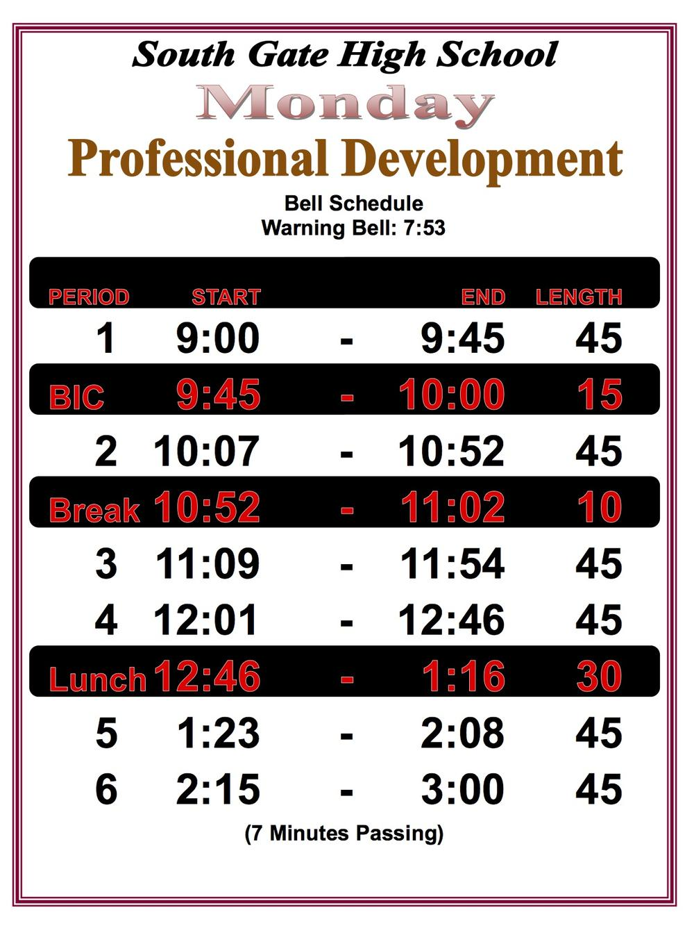PD Monday Bell Schedule