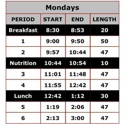 Monday Bell Schedule