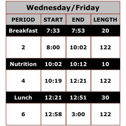 Wednesday Friday Bell Schedule